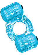 Hero Double Pleaser Teaser Cock Ring Waterproof Blue