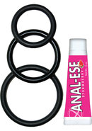 Super Cock Kit Silicone Cockrings And Anal-ese Black