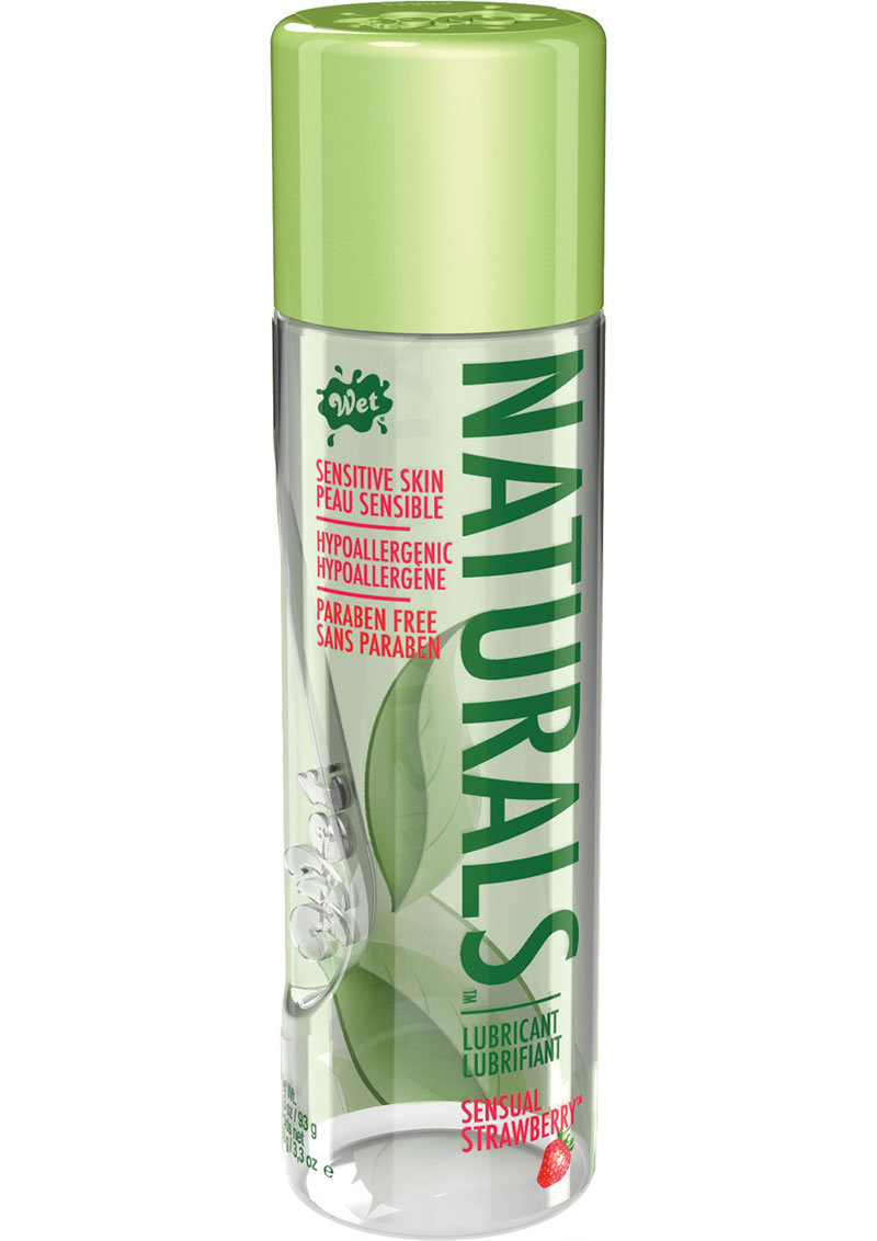 Wet Naturals Water Based Lubricant For Sensitive Skin Sensual Strawberry 3.3 Ounce Bottle