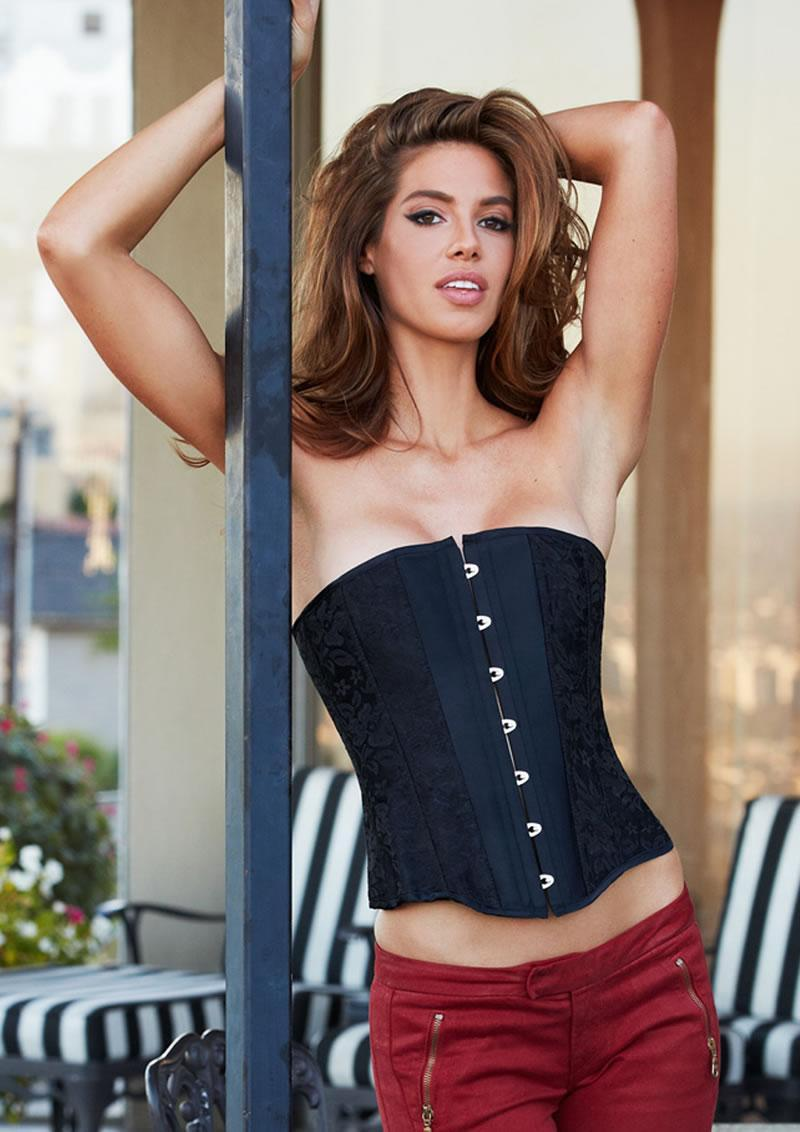 Essential Satin And Lace Corset Blk Xl