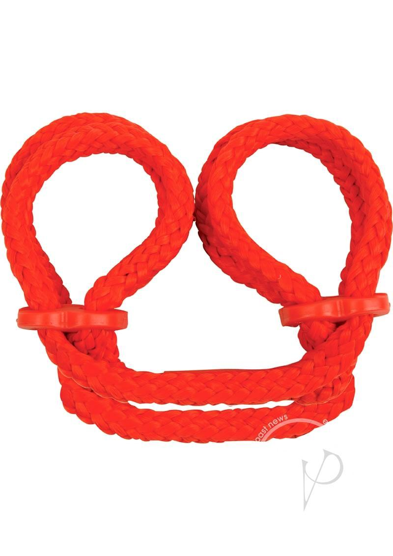 Japanese Silk Love Rope Ankle Cuffs Red