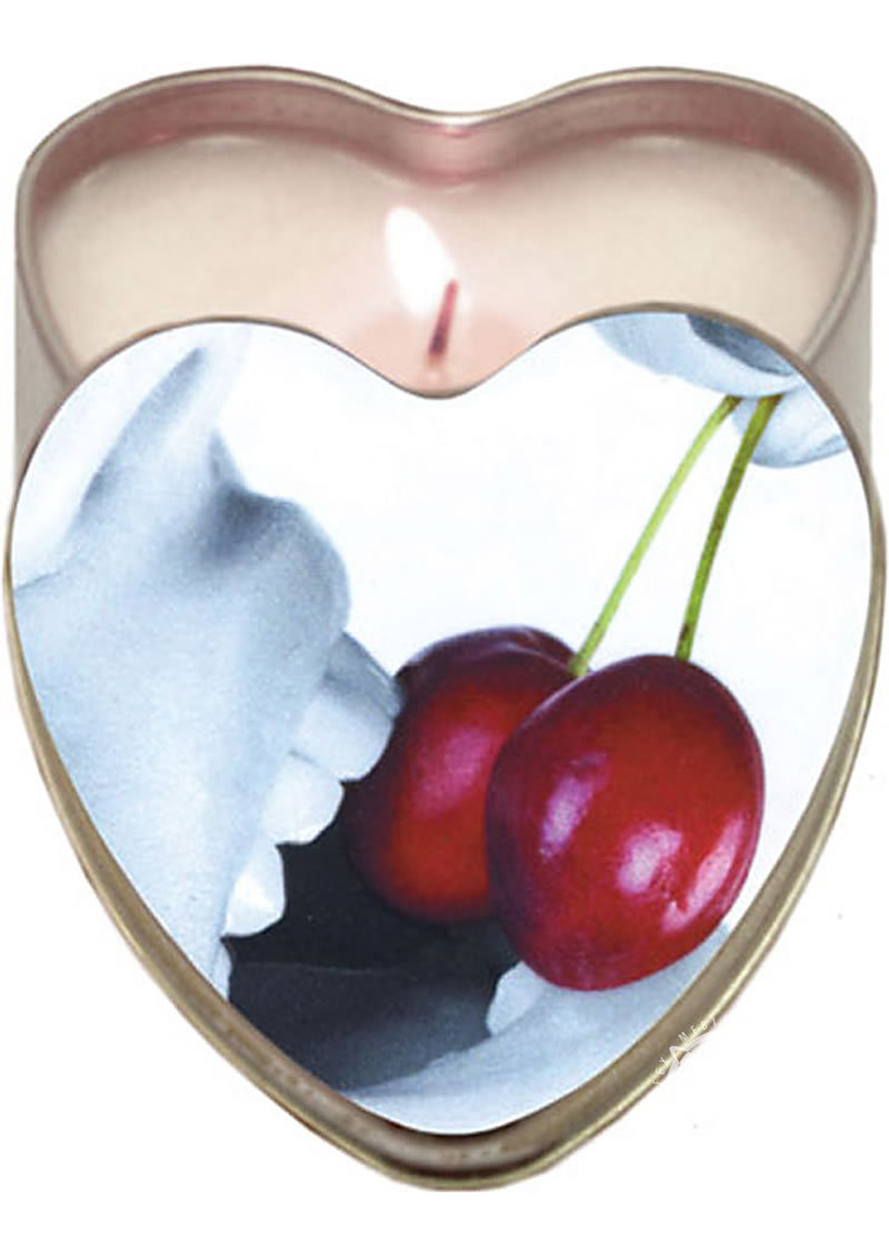 Earthly Body Heart-shaped Hemp Seed Edible Massage Candle Cherry 4oz