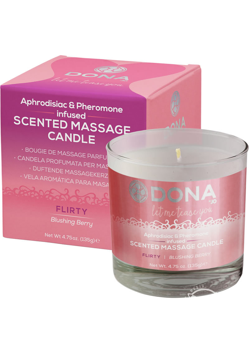 Dona Aphrodisiac And Pheromone Infused Scented Massage Candle Flirty Blushing Berry 4.75 Ounce