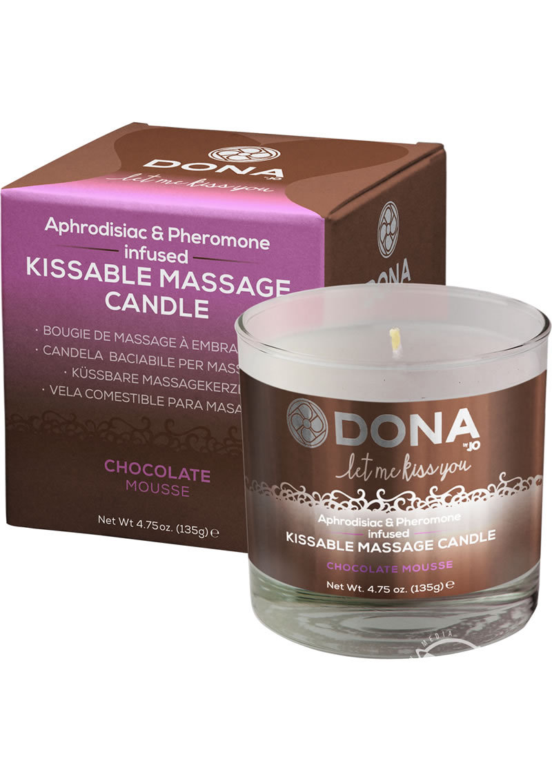 Dona Aphrodisiac And Pheromone Infused Kissable Massage Candle Chocolate Mousse 4.75 Ounce
