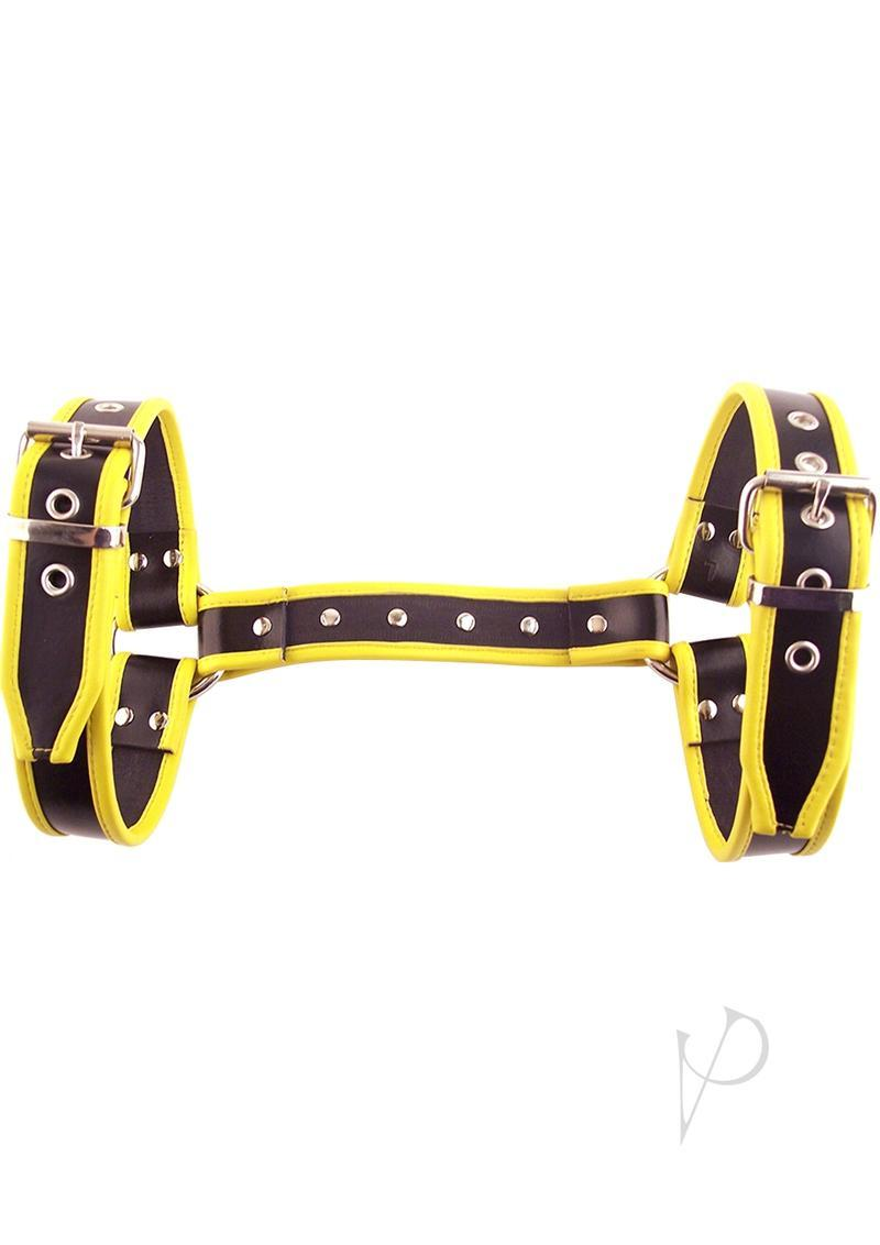 Rouge Halter Harness Leather Adjustable Large Black And Yellow