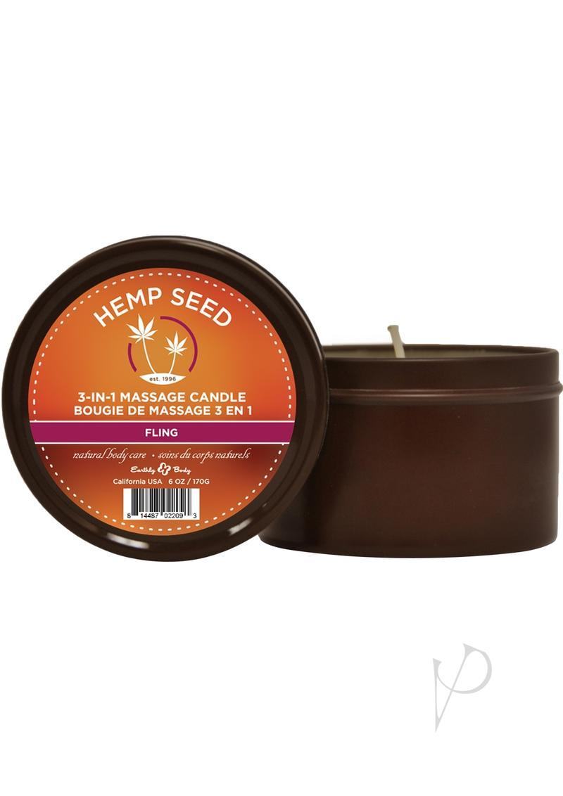 Hemp Seed 3 In 1 Massage Candle 100% Vegan Fling 6 Ounce Round Tin